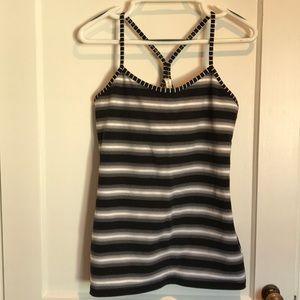 Lululemon black and white striped tank top.